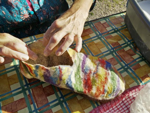 Hand felted slippers: The basic slipper shape