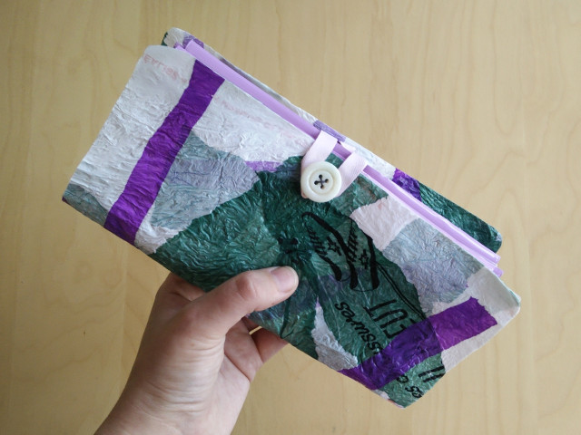 Wallet made with fused plastic bags