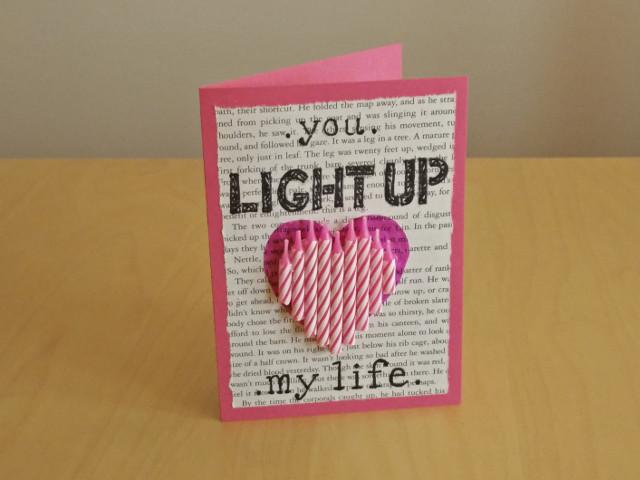Créations en papier pour la saint valentin : Tu illumines ma vie