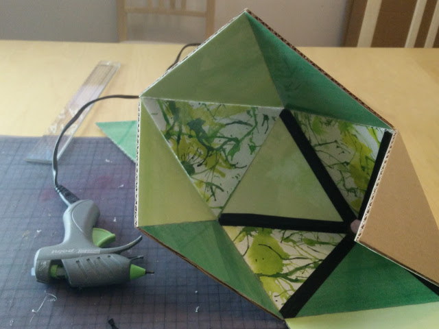 Glueing and taping the lampshade