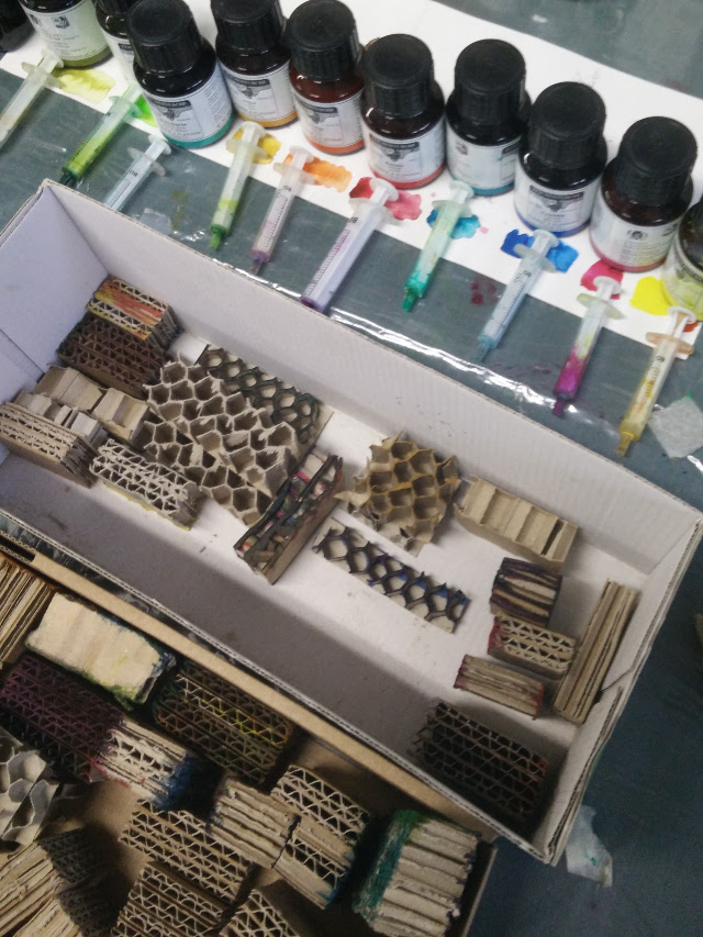 India Inks and cardboard stamps