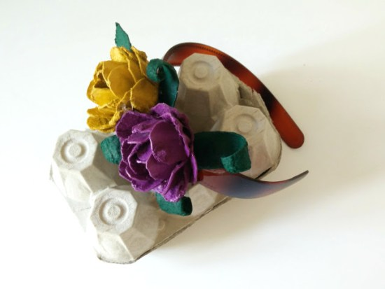 Roses made from recycled egg cartons