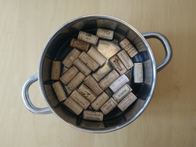 Soaking the corks in warm water