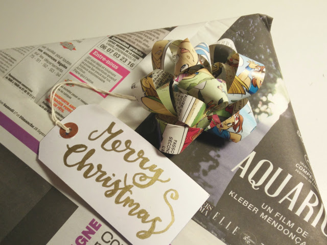 Eco wrapping ideas : Recycled paper bow
