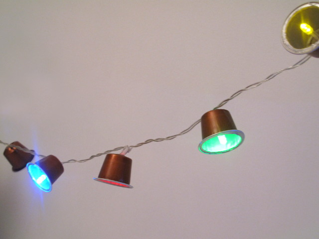 Recycled Christmas fairy lights with nespresso capsules