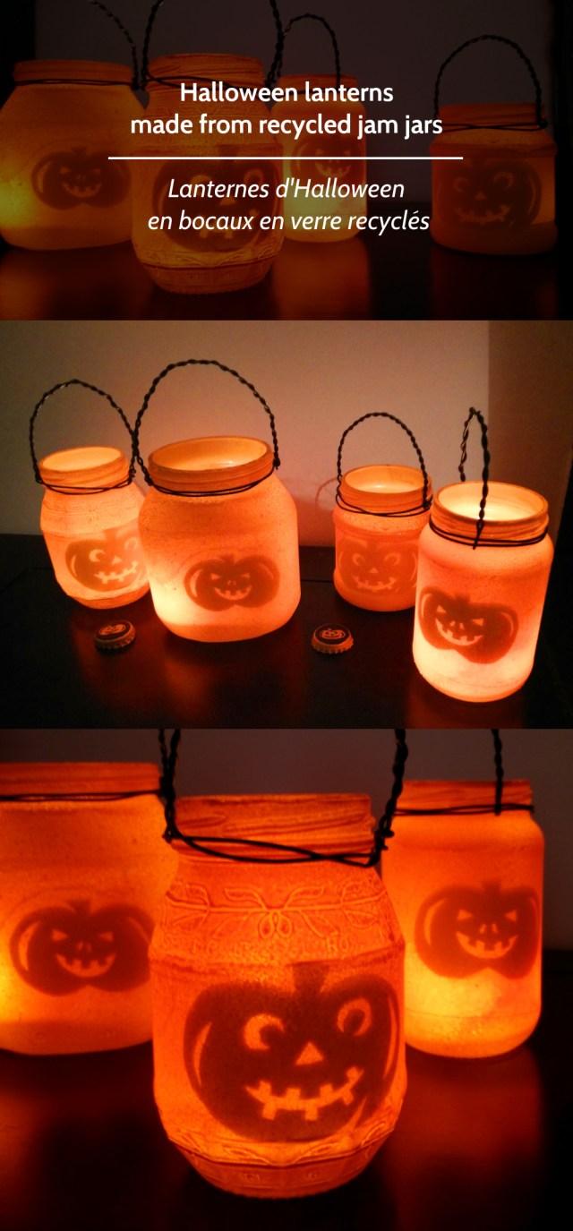Lanternes d'Halloween en bocaux en verre recyclés