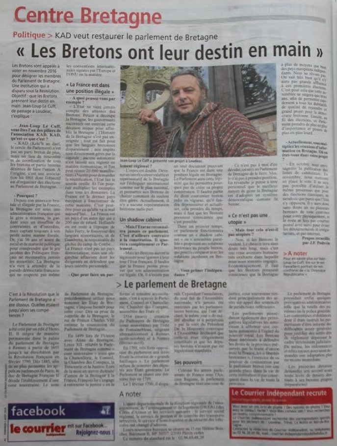 article KAD le courrier indépendant
