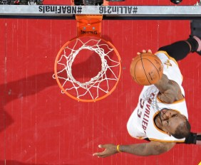CLEVELAND, OH - JUNE 10:  LeBron James #23 of the Cleveland Cavaliers drives to the basket against the Golden State Warriors during Game Four of the 2016 NBA Finals between the Golden State Warriors and the Cleveland Cavaliers on June 10, 2016 at Quicken Loans Arena in Cleveland, Ohio. NOTE TO USER: User expressly acknowledges and agrees that, by downloading and/or using this Photograph, user is consenting to the terms and conditions of the Getty Images License Agreement. Mandatory Copyright Notice: Copyright 2016 NBAE (Photo by Andrew D. Bernstein/NBAE via Getty Images)