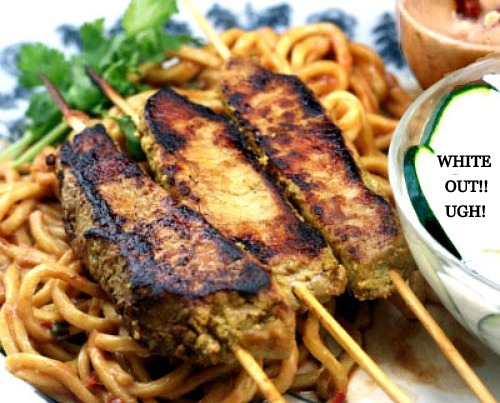 Incredibly flavorful Pork Satay with Udon Noodles, Spicy Peanut Sauce, and Creamy Cucumber Yogurt Sauce. One of my favorite Thai meals!