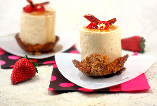 Maple Mousse and French Toasted Pound Cake in Candied Bacon Hazelnut Lace Bowls