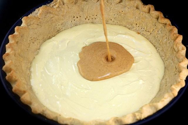 Three Pies in One - Cheesecake Pumpkin Pecan Pie! - Pumpkin Layer