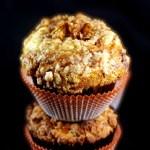 Jumbo Cheesecake Stuffed Pumpkin Muffins with Toffee Streusel