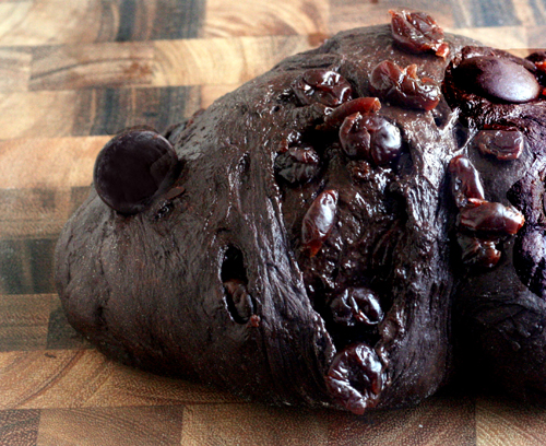 Black Forest Chocolate Chunk Cherry Bread with Whipped Vanilla Bean Cream Cheese