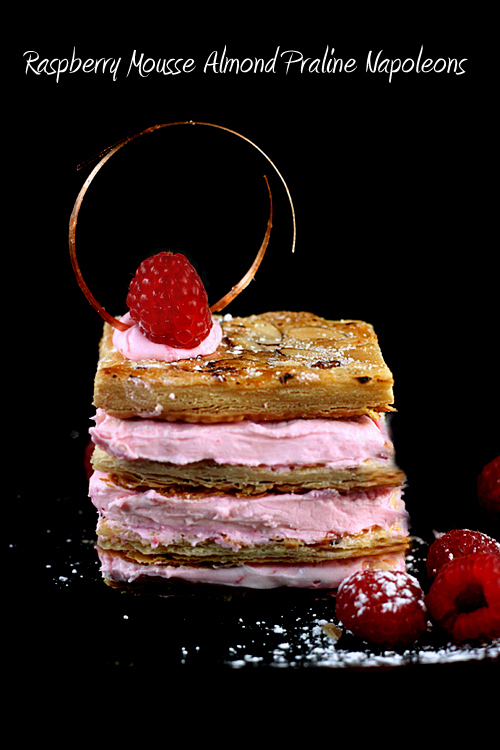 Raspberry Mousse Almond Praline Mille Feuille aka Napoleons #breastcancerawareness