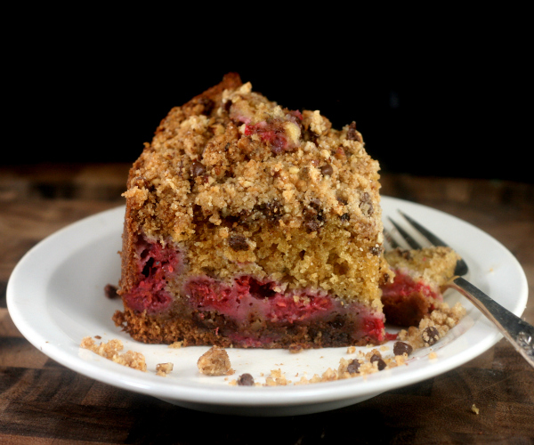 Raspberry Brown Butter Pecan Chocolate Chip Streusel Cake