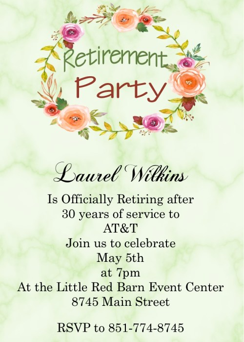 Engaging Summer 2018 Retirement Party Invitations Uk Retirement Party Invitations Amazon Marble Floral Wreath Retirement Party Invitations Retirement Party Invitations Custom Designed New