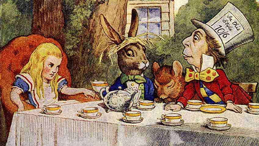 John Tenniel, Mad Hatter's Tea Party, engraving, in Lewis Carroll, The Nursery Alice, Macmillan, 1890