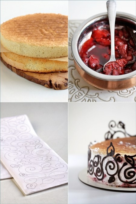 Roasted Balsamic Strawberries & Quark Cheese Mousse Cake