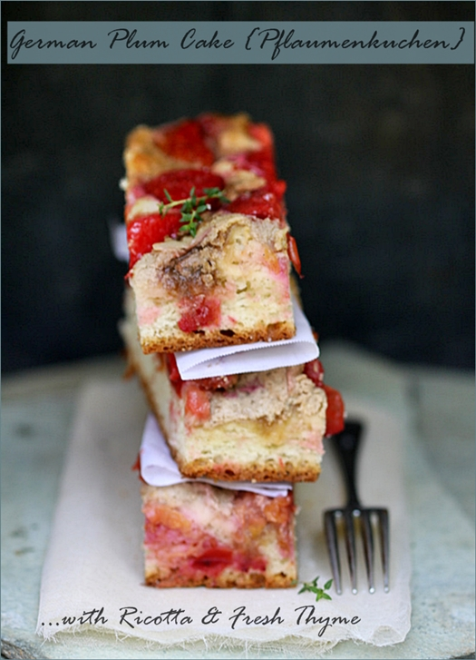 German Plum Cake (Pflaumenkuchen) With Ricotta & Fresh Thyme