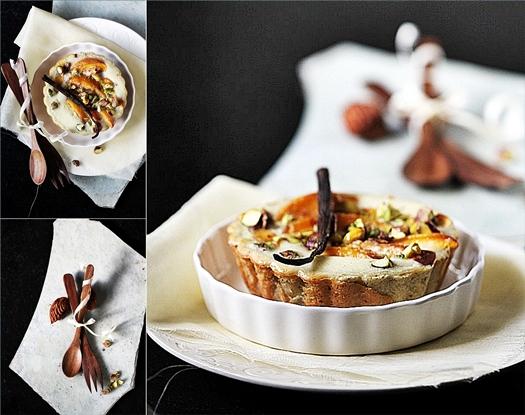 Peach Pistachio Ricotta Cheesecake Tart