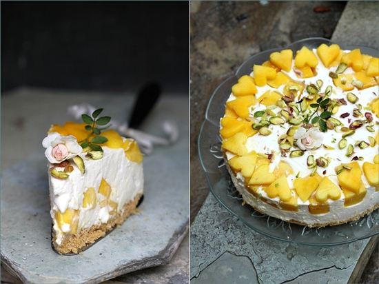 Upside Down Mango Quark Cheese Pie