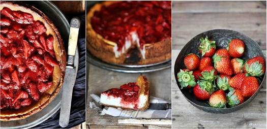Vanilla Quark Cheesecake with Balsamic Roasted Strawberries