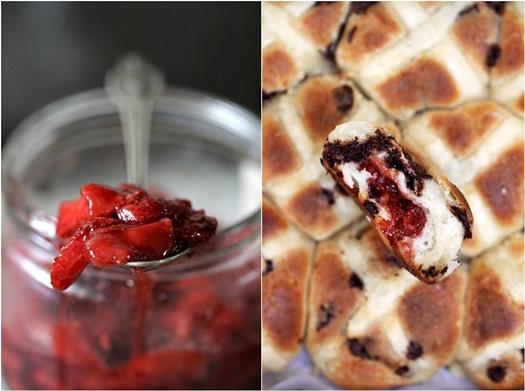 Hot Cross Strawberry Chocolate Chip Buns