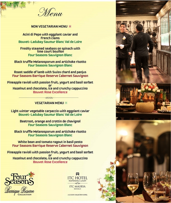 Dinner Menu created by Chef Baptiste at West View Kitchen, ITC Maurya & Four Seasons Wines