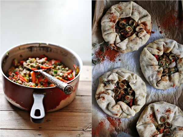 Pizza Pies with lamb & beet greens