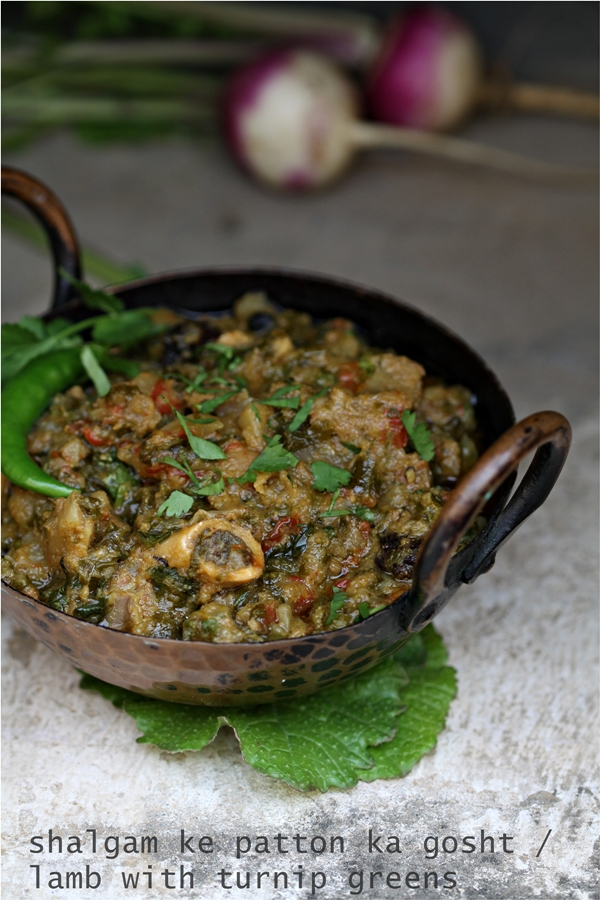 Lamb with turnip greens, shalgam ke patton ka gosht