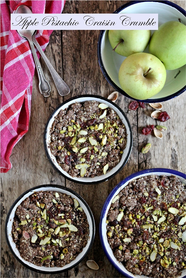 GF Apple Pistachio Craisin Crumble ... with oats and finger millet {ragi}