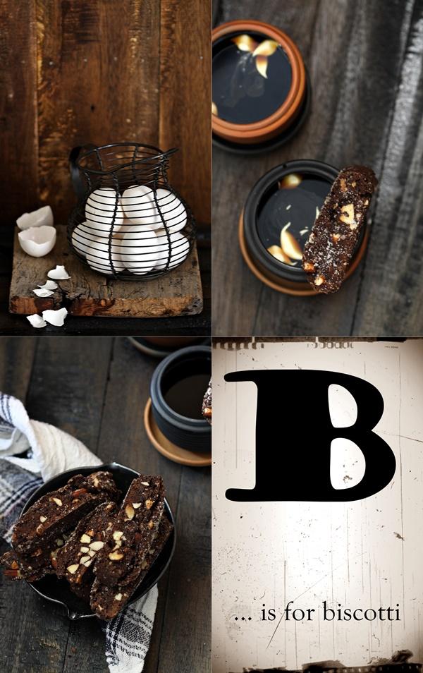 Wholewheat cocoa almond biscotti