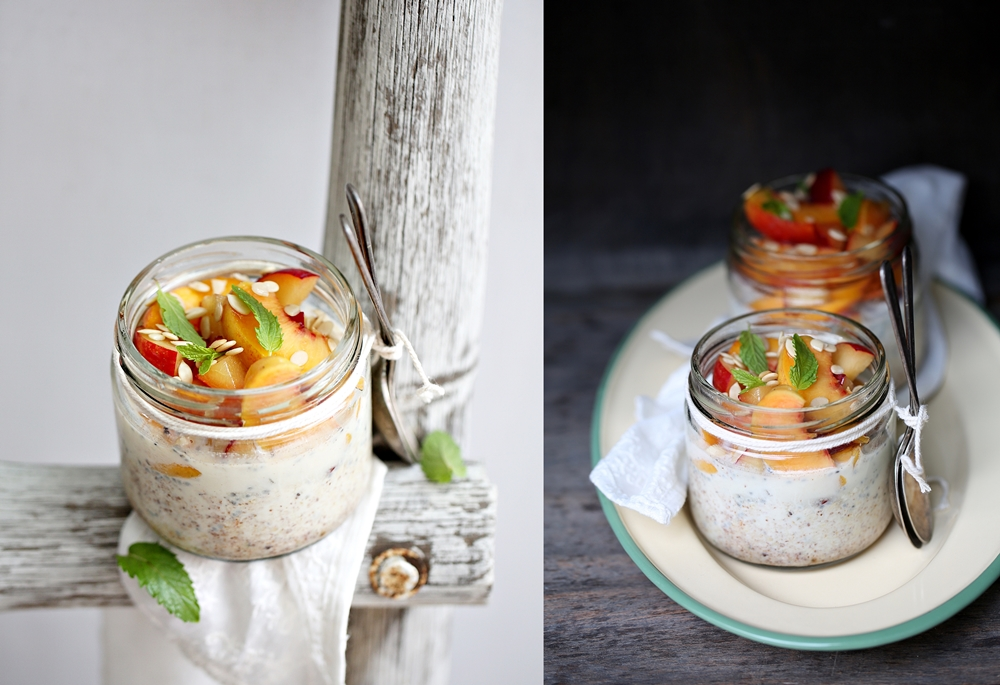 Overnight Thandai Oats wth peaches and plums