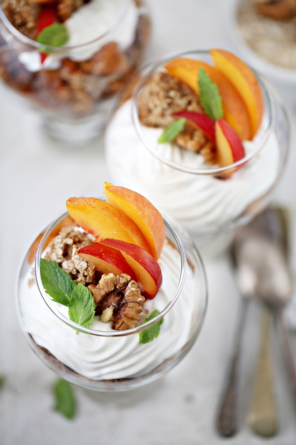 Oat Walnut Trifle Bowls with Roasted Stone Fruit