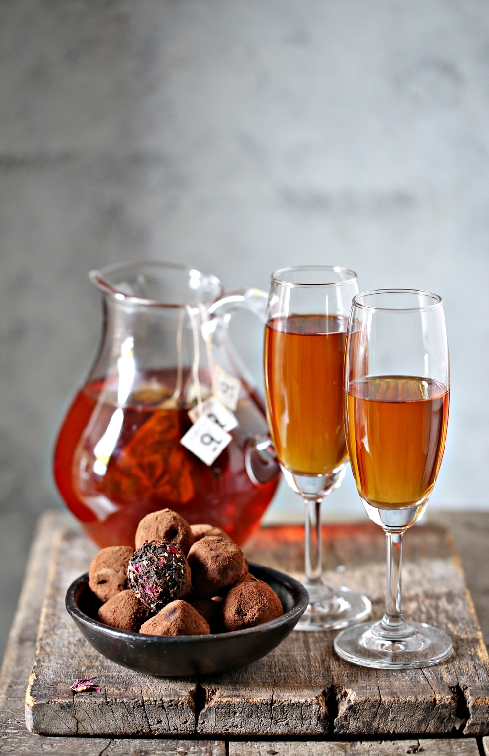 Mountain Rose Iced Tea with Tea Rose Chocolate Truffles