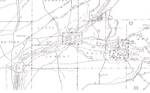 Scharf Map, drawn around 1900, representing pre-settlement time overlaid with roads from 1900. Box in center is area discussed below. The triangular icon in its center represents the location of a Potawatomi village. The Des Plaines River runs diagonally toward the upper right and Chicago, the other valley directly east to Lake Michigan. The diagonal road in the same direction as the river is Archer Avenue.