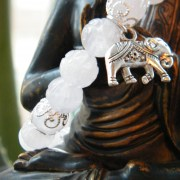 Elephant charm on quartz