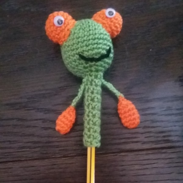 Hand Knitted Frog Friend for Pencils