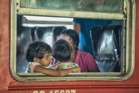 travel image in sri lanka of girls in train