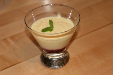 Cranberry coulis with creme anglaise