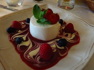 "Raspberry Panna Cotta at Miod Malina (""Honey Raspberry"")... excellent food and service!"