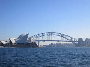 View of Harbour Bridge and Opera House from ferry to zoo...