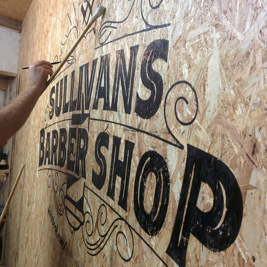 sullivans barber shop wall signwriting