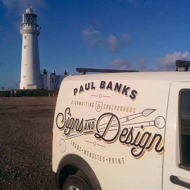 Paul Banks Sign Writing Van and Flamborough Lighthouse