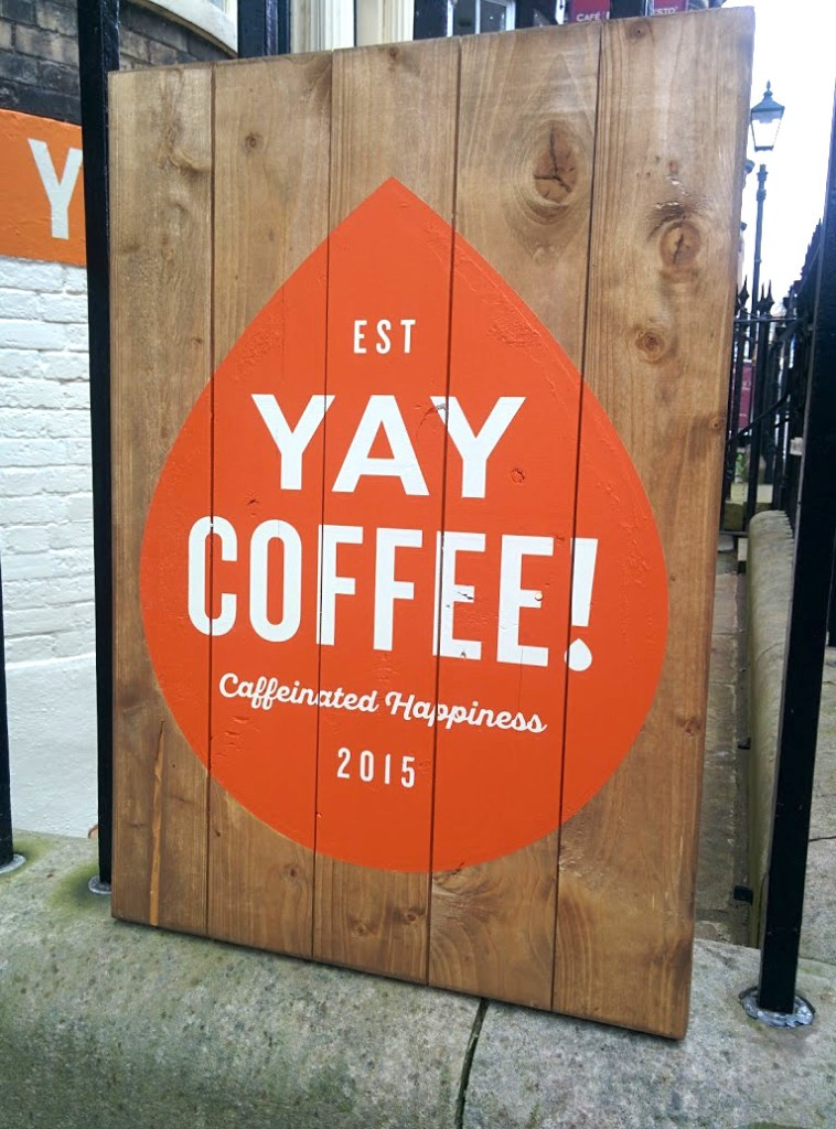 Reclaimed wood sign - Yay Coffee Scarborough