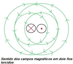 Fig. 11 - Sentido do campo no fio torcido