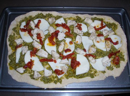 Chicken Pesto with Beer Pizza Crust Recipe