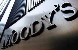 File photo of the Moody's sign on 7 World Trade Center tower in New York