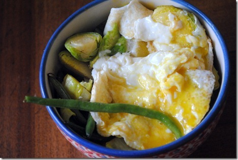 eggs with brussesls and green beans