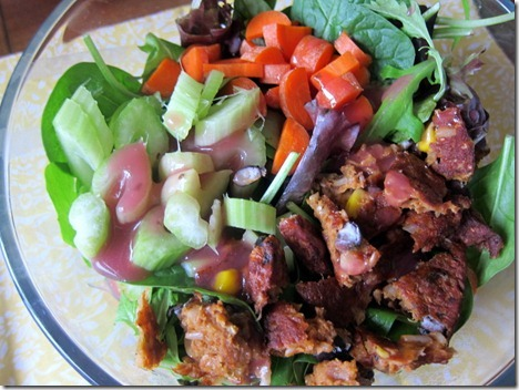 Morningstar Farms black bean burger salad